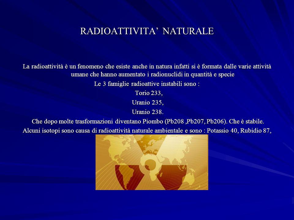 RADIOATTIVITA NATURALE La radioattività è un fenomeno che esiste anche in natura infatti si è formata dalle varie attività umane che hanno aumentato i radionuclidi in quantità e specie Le 3 famiglie radioattive instabili sono : Torio 233, Torio 233, Uranio 235, Uranio 235, Uranio 238.