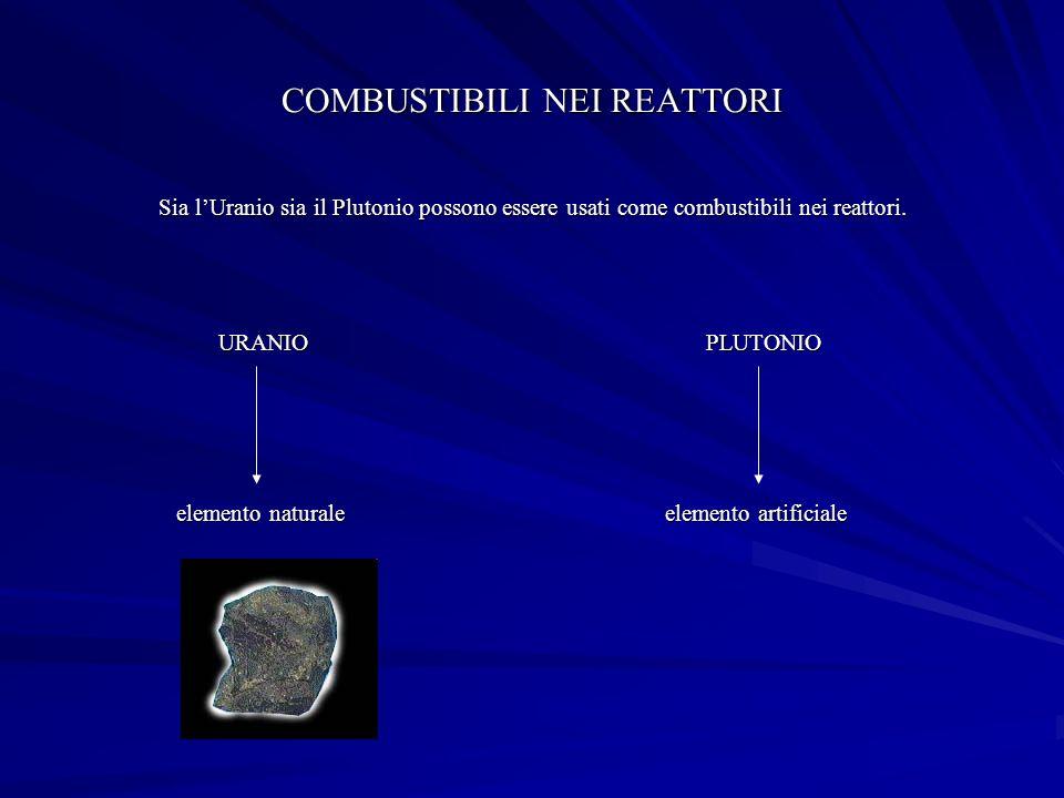 COMBUSTIBILI NEI REATTORI Sia lUranio sia il Plutonio possono essere usati come combustibili nei reattori.