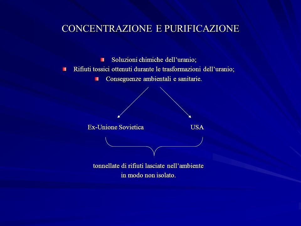 CONCENTRAZIONE E PURIFICAZIONE Soluzioni chimiche delluranio; Rifiuti tossici ottenuti durante le trasformazioni delluranio; Conseguenze ambientali e sanitarie.
