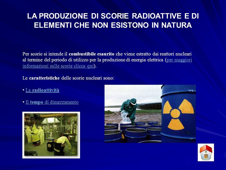 LA PRODUZIONE DI SCORIE RADIOATTIVE E DI ELEMENTI CHE NON ESISTONO IN NATURA Per scorie si intende il combustibile esaurito che viene estratto dai reattori nucleari al termine del periodo di utilizzo per la produzione di energia elettrica (per maggiori informazioni sulle scorie clicca qui).per maggiori informazioni sulle scorie clicca qui Le caratteristiche delle scorie nucleari sono: La radioattivitàLa radioattività Il tempo di dimezzamentoIl tempo di dimezzamento