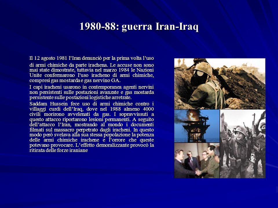 1980-88: guerra Iran-Iraq Il 12 agosto 1981 lIran denunciò per la prima volta luso di armi chimiche da parte irachena.