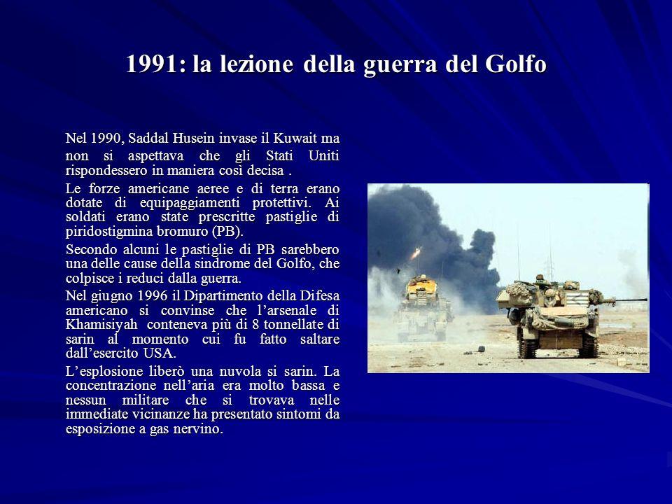 1991: la lezione della guerra del Golfo Nel 1990, Saddal Husein invase il Kuwait ma non si aspettava che gli Stati Uniti rispondessero in maniera così decisa.