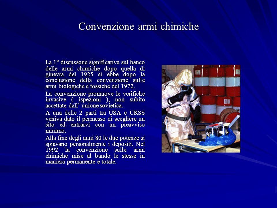 Convenzione armi chimiche La 1° discussone significativa sul banco delle armi chimiche dopo quella di ginevra del 1925 si ebbe dopo la conclusione della convenzione sulle armi biologiche e tossiche del 1972.