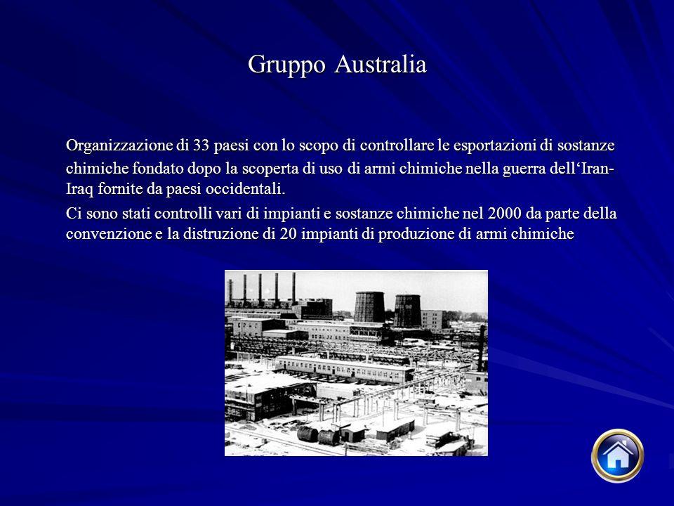 Gruppo Australia Organizzazione di 33 paesi con lo scopo di controllare le esportazioni di sostanze chimiche fondato dopo la scoperta di uso di armi chimiche nella guerra dellIran- Iraq fornite da paesi occidentali.