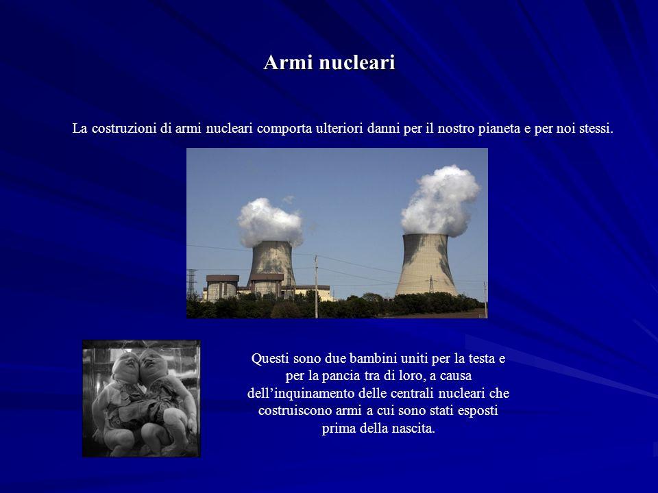 La costruzioni di armi nucleari comporta ulteriori danni per il nostro pianeta e per noi stessi.