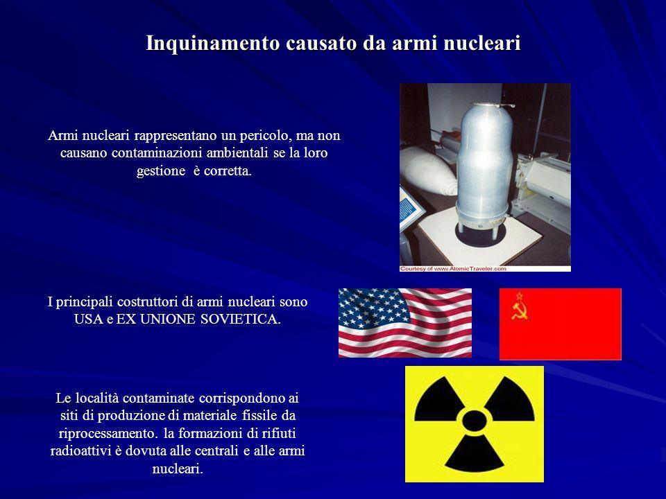 Armi nucleari rappresentano un pericolo, ma non causano contaminazioni ambientali se la loro gestione è corretta.