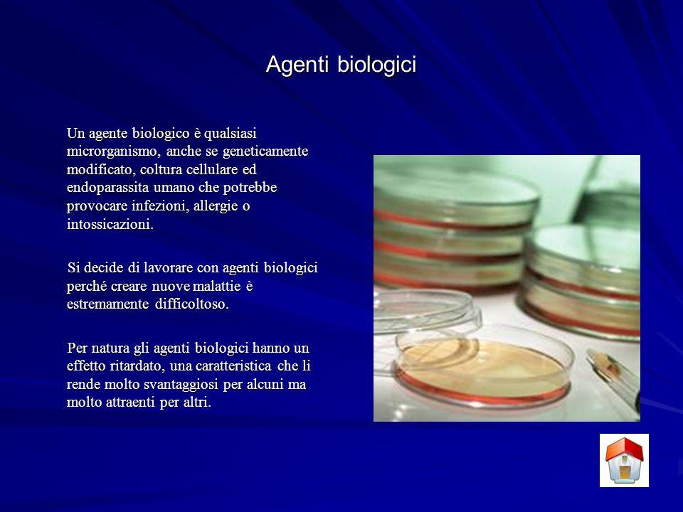 Agenti biologici Un agente biologico è qualsiasi microrganismo, anche se geneticamente modificato, coltura cellulare ed endoparassita umano che potrebbe provocare infezioni, allergie o intossicazioni.
