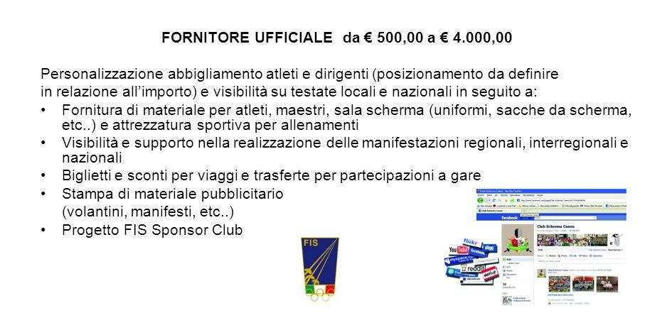 FORNITORE UFFICIALE da 500,00 a 4.000,00 Personalizzazione abbigliamento atleti e dirigenti (posizionamento da definire in relazione allimporto) e vis