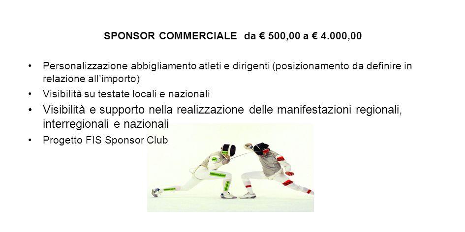 SPONSOR COMMERCIALE da 500,00 a 4.000,00 Personalizzazione abbigliamento atleti e dirigenti (posizionamento da definire in relazione allimporto) Visib