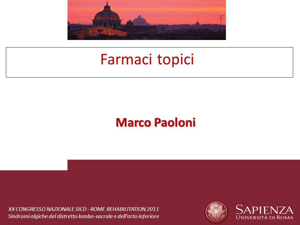 Farmaci topici Marco Paoloni XX CONGRESSO NAZIONALE SICD - ROME REHABILITATION 2011 Sindromi algiche del distretto lombo-sacrale e dellarto inferiore