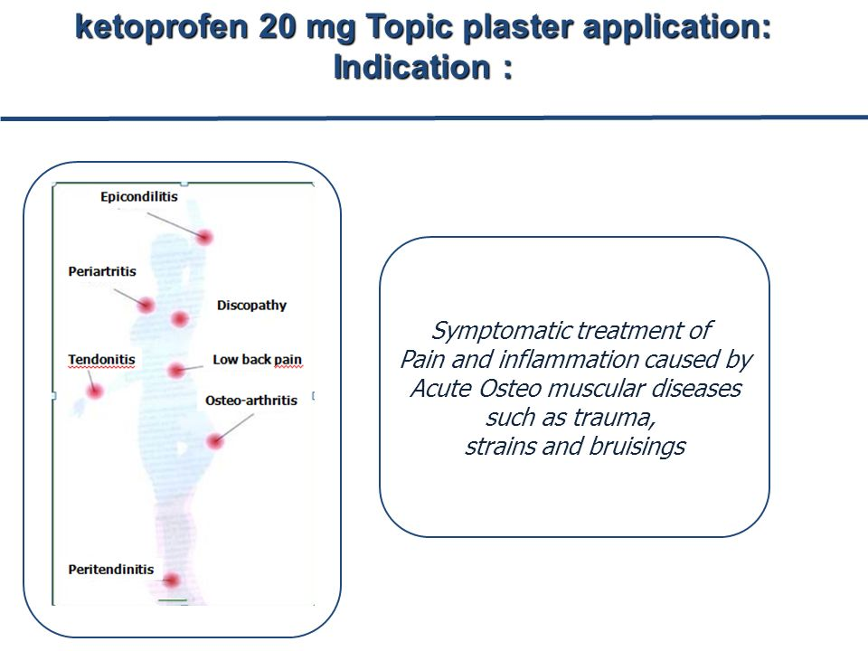 Symptomatic treatment of Pain and inflammation caused by Acute Osteo muscular diseases such as trauma, strains and bruisings ketoprofen 20 mg Topic plaster application: Indication :