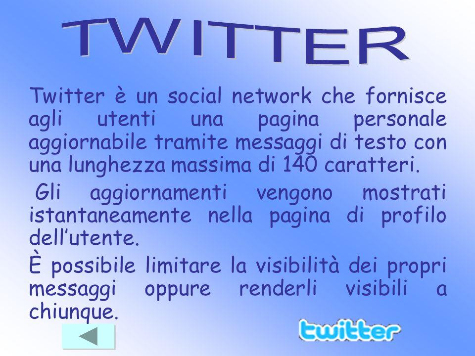Twitter è un social network che fornisce agli utenti una pagina personale aggiornabile tramite messaggi di testo con una lunghezza massima di 140 cara