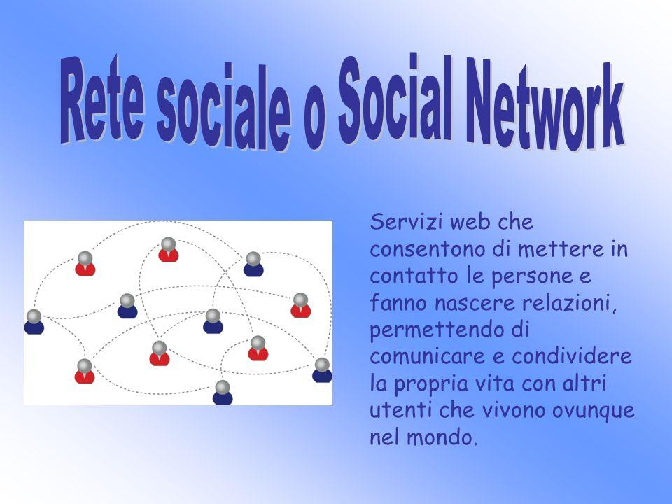 Servizi web che consentono di mettere in contatto le persone e fanno nascere relazioni, permettendo di comunicare e condividere la propria vita con al