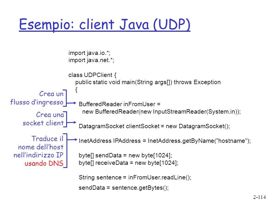 2-114 Esempio: client Java (UDP) import java.io.*; import java.net.*; class UDPClient { public static void main(String args[]) throws Exception { BufferedReader inFromUser = new BufferedReader(new InputStreamReader(System.in)); DatagramSocket clientSocket = new DatagramSocket(); InetAddress IPAddress = InetAddress.getByName( hostname ); byte[] sendData = new byte[1024]; byte[] receiveData = new byte[1024]; String sentence = inFromUser.readLine(); sendData = sentence.getBytes(); Crea un flusso dingresso Crea una socket client Traduce il nome dellhost nellindirizzo IP usando DNS