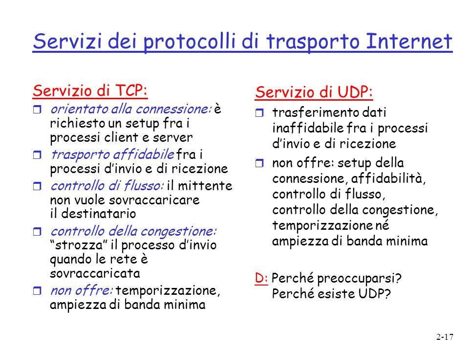 2-17 Servizi dei protocolli di trasporto Internet Servizio di TCP: r orientato alla connessione: è richiesto un setup fra i processi client e server r trasporto affidabile fra i processi dinvio e di ricezione r controllo di flusso: il mittente non vuole sovraccaricare il destinatario r controllo della congestione: strozza il processo dinvio quando le rete è sovraccaricata r non offre: temporizzazione, ampiezza di banda minima Servizio di UDP: r trasferimento dati inaffidabile fra i processi dinvio e di ricezione r non offre: setup della connessione, affidabilità, controllo di flusso, controllo della congestione, temporizzazione né ampiezza di banda minima D: Perché preoccuparsi.