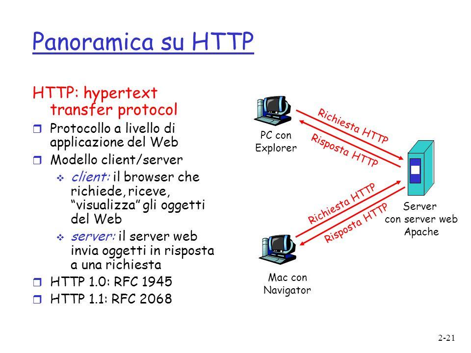 2-21 Panoramica su HTTP HTTP: hypertext transfer protocol r Protocollo a livello di applicazione del Web r Modello client/server client: il browser che richiede, riceve, visualizza gli oggetti del Web server: il server web invia oggetti in risposta a una richiesta r HTTP 1.0: RFC 1945 r HTTP 1.1: RFC 2068 PC con Explorer Server con server web Apache Mac con Navigator Richiesta HTTP Risposta HTTP