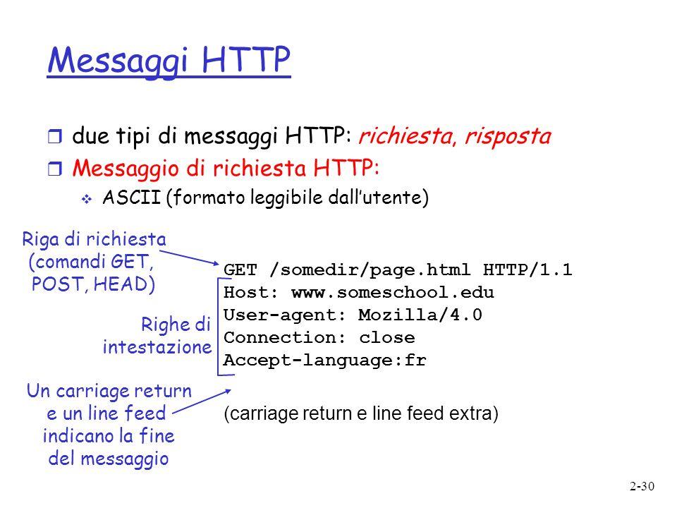 2-30 Messaggi HTTP r due tipi di messaggi HTTP: richiesta, risposta r Messaggio di richiesta HTTP: ASCII (formato leggibile dallutente) GET /somedir/page.html HTTP/1.1 Host: www.someschool.edu User-agent: Mozilla/4.0 Connection: close Accept-language:fr (carriage return e line feed extra) Riga di richiesta (comandi GET, POST, HEAD) Righe di intestazione Un carriage return e un line feed indicano la fine del messaggio