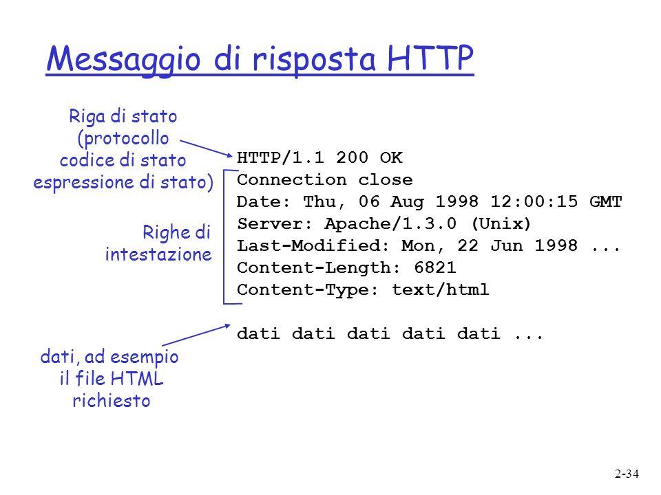2-34 Messaggio di risposta HTTP HTTP/1.1 200 OK Connection close Date: Thu, 06 Aug 1998 12:00:15 GMT Server: Apache/1.3.0 (Unix) Last-Modified: Mon, 22 Jun 1998...