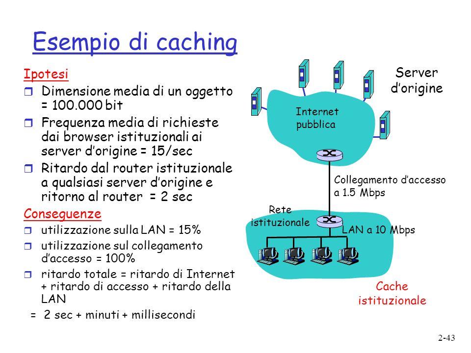 2-43 Esempio di caching Ipotesi r Dimensione media di un oggetto = 100.000 bit r Frequenza media di richieste dai browser istituzionali ai server dorigine = 15/sec r Ritardo dal router istituzionale a qualsiasi server dorigine e ritorno al router = 2 sec Conseguenze r utilizzazione sulla LAN = 15% r utilizzazione sul collegamento daccesso = 100% r ritardo totale = ritardo di Internet + ritardo di accesso + ritardo della LAN = 2 sec + minuti + millisecondi Server dorigine Internet pubblica Rete istituzionale LAN a 10 Mbps Collegamento daccesso a 1.5 Mbps Cache istituzionale