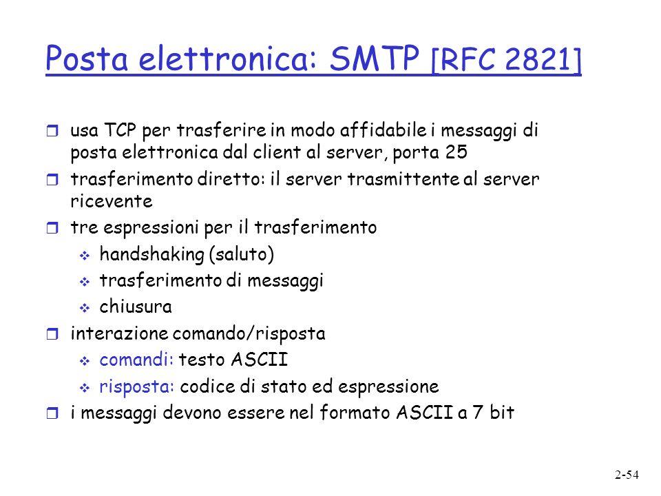 2-54 Posta elettronica: SMTP [RFC 2821] r usa TCP per trasferire in modo affidabile i messaggi di posta elettronica dal client al server, porta 25 r trasferimento diretto: il server trasmittente al server ricevente r tre espressioni per il trasferimento handshaking (saluto) trasferimento di messaggi chiusura r interazione comando/risposta comandi: testo ASCII risposta: codice di stato ed espressione r i messaggi devono essere nel formato ASCII a 7 bit