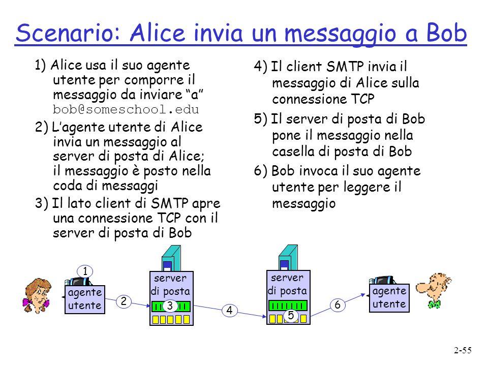 2-55 Scenario: Alice invia un messaggio a Bob 1) Alice usa il suo agente utente per comporre il messaggio da inviare a bob@someschool.edu 2) Lagente utente di Alice invia un messaggio al server di posta di Alice; il messaggio è posto nella coda di messaggi 3) Il lato client di SMTP apre una connessione TCP con il server di posta di Bob 4) Il client SMTP invia il messaggio di Alice sulla connessione TCP 5) Il server di posta di Bob pone il messaggio nella casella di posta di Bob 6) Bob invoca il suo agente utente per leggere il messaggio server di posta 2 3 4 5 6 agente utente 1