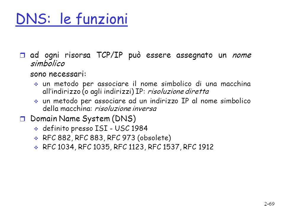 2-69 r ad ogni risorsa TCP/IP può essere assegnato un nome simbolico sono necessari: un metodo per associare il nome simbolico di una macchina allindirizzo (o agli indirizzi) IP: risoluzione diretta un metodo per associare ad un indirizzo IP al nome simbolico della macchina: risoluzione inversa r Domain Name System (DNS) definito presso ISI - USC 1984 RFC 882, RFC 883, RFC 973 (obsolete) RFC 1034, RFC 1035, RFC 1123, RFC 1537, RFC 1912 DNS: le funzioni