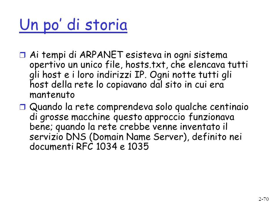 2-70 Un po di storia r Ai tempi di ARPANET esisteva in ogni sistema opertivo un unico file, hosts.txt, che elencava tutti gli host e i loro indirizzi IP.