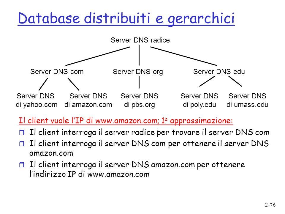 2-76 Server DNS radice Server DNS comServer DNS orgServer DNS edu Server DNS di poly.edu Server DNS di umass.edu Server DNS di yahoo.com Server DNS di amazon.com Server DNS di pbs.org Database distribuiti e gerarchici Il client vuole lIP di www.amazon.com; 1 a approssimazione: r Il client interroga il server radice per trovare il server DNS com r Il client interroga il server DNS com per ottenere il server DNS amazon.com r Il client interroga il server DNS amazon.com per ottenere lindirizzo IP di www.amazon.com