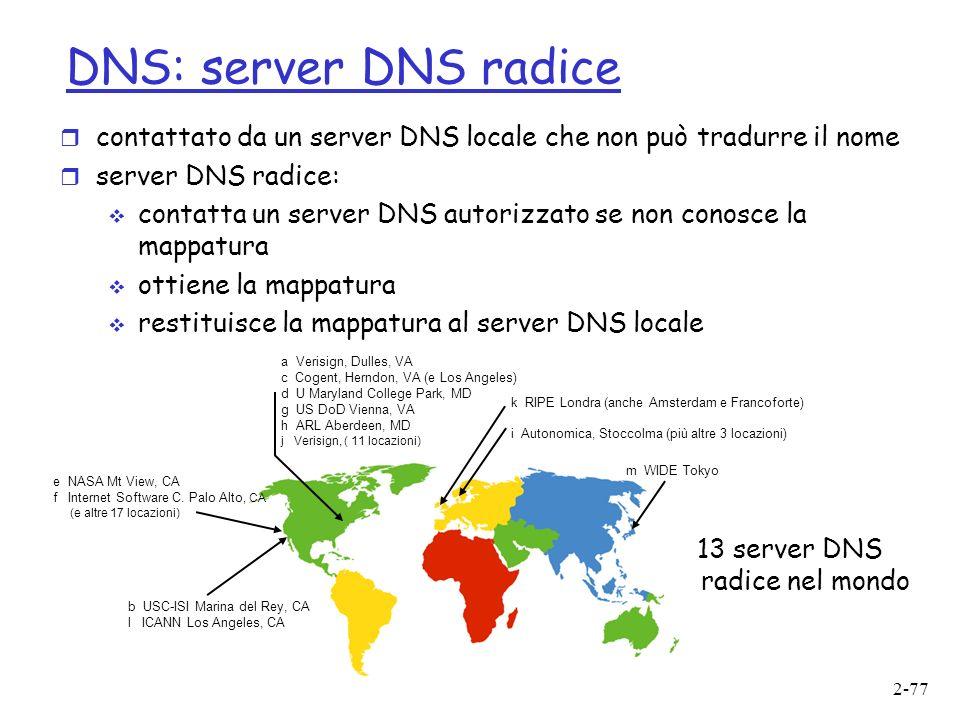 2-77 DNS: server DNS radice r contattato da un server DNS locale che non può tradurre il nome r server DNS radice: contatta un server DNS autorizzato se non conosce la mappatura ottiene la mappatura restituisce la mappatura al server DNS locale 13 server DNS radice nel mondo b USC-ISI Marina del Rey, CA l ICANN Los Angeles, CA e NASA Mt View, CA f Internet Software C.