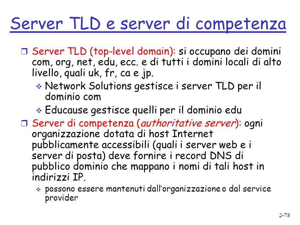 2-78 Server TLD e server di competenza r Server TLD (top-level domain): si occupano dei domini com, org, net, edu, ecc.