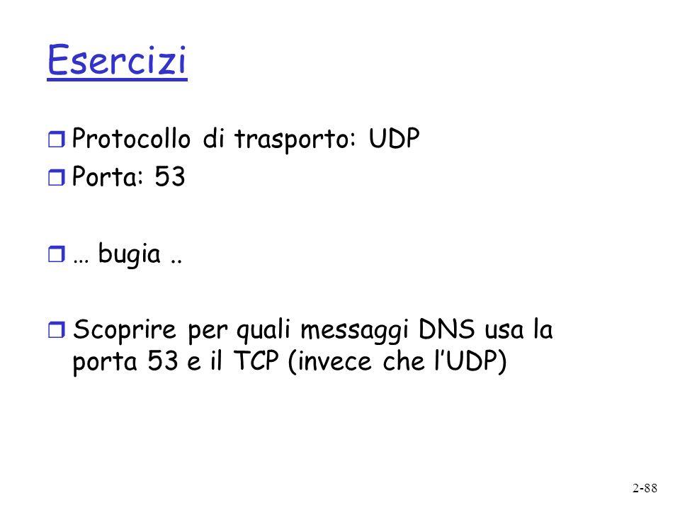 2-88 Esercizi r Protocollo di trasporto: UDP r Porta: 53 r … bugia..