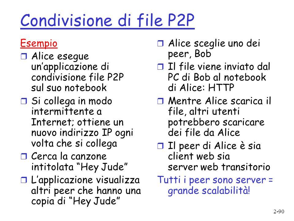 2-90 Condivisione di file P2P Esempio r Alice esegue unapplicazione di condivisione file P2P sul suo notebook r Si collega in modo intermittente a Internet; ottiene un nuovo indirizzo IP ogni volta che si collega r Cerca la canzone intitolata Hey Jude r Lapplicazione visualizza altri peer che hanno una copia di Hey Jude r Alice sceglie uno dei peer, Bob r Il file viene inviato dal PC di Bob al notebook di Alice: HTTP r Mentre Alice scarica il file, altri utenti potrebbero scaricare dei file da Alice r Il peer di Alice è sia client web sia server web transitorio Tutti i peer sono server = grande scalabilità!