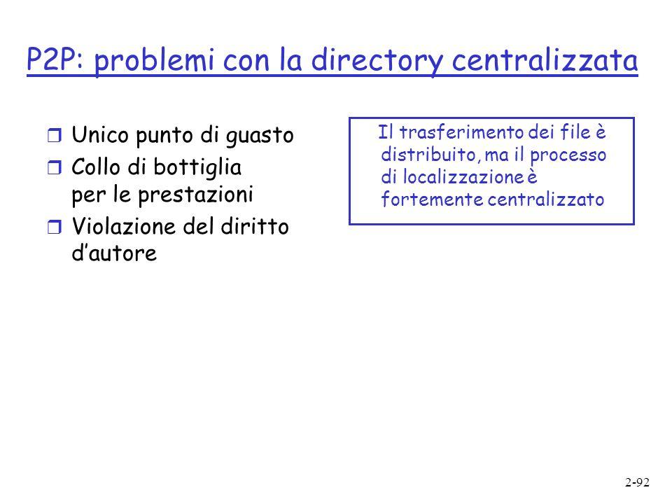 2-92 P2P: problemi con la directory centralizzata r Unico punto di guasto r Collo di bottiglia per le prestazioni r Violazione del diritto dautore Il trasferimento dei file è distribuito, ma il processo di localizzazione è fortemente centralizzato
