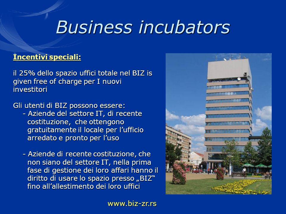 Business incubators Incentivi speciali: il 25% dello spazio uffici totale nel BIZ is given free of charge per I nuovi investitori Gli utenti di BIZ po
