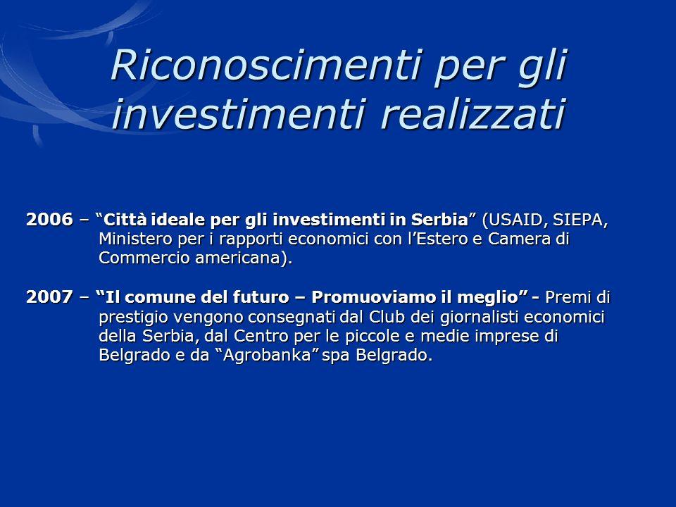 Riconoscimenti per gli investimenti realizzati 2006 –Città ideale per gli investimenti in Serbia (USAID, SIEPA, Ministero per i rapporti economici con