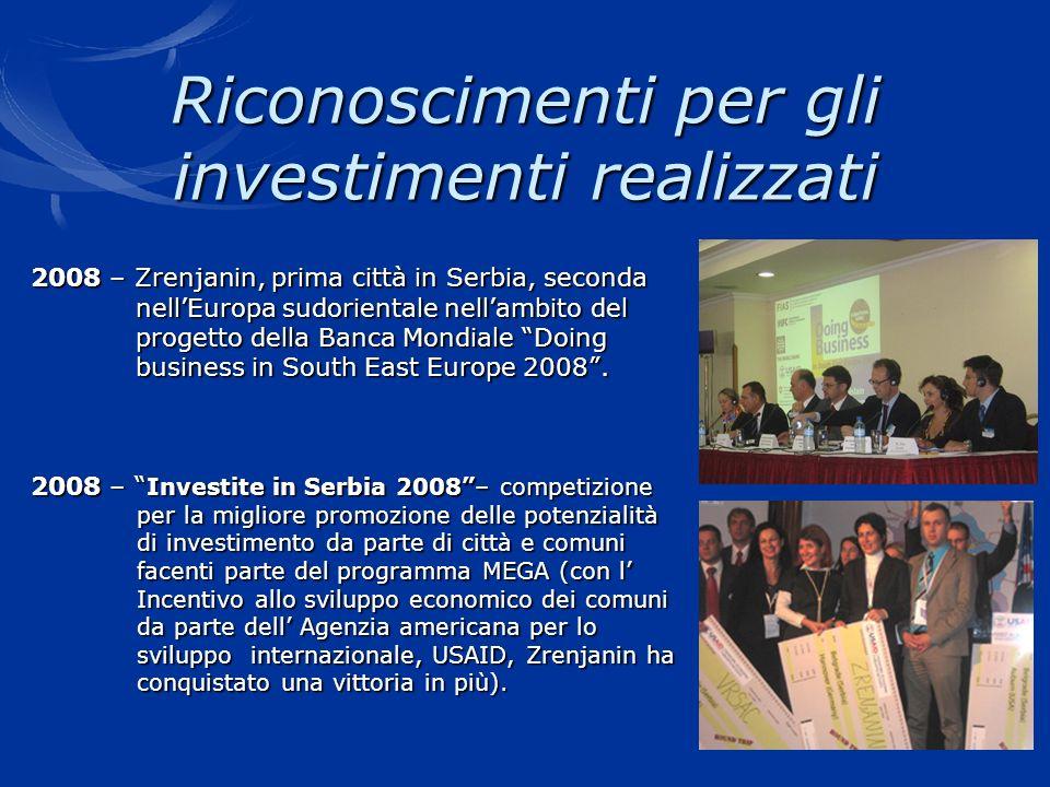 Riconoscimenti per gli investimenti realizzati 2008 – Zrenjanin, prima città in Serbia, seconda nellEuropa sudorientale nellambito del nellEuropa sudo