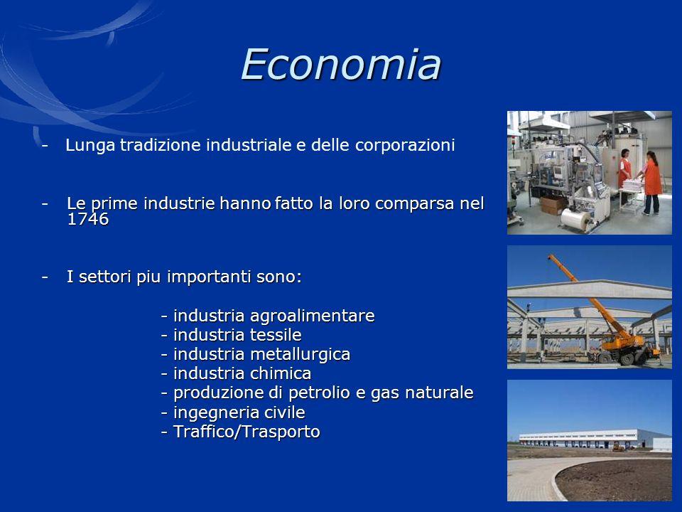 Economia - Lunga tradizione industriale e delle corporazioni Le prime industrie hanno fatto la loro comparsa nel 1746 - Le prime industrie hanno fatto