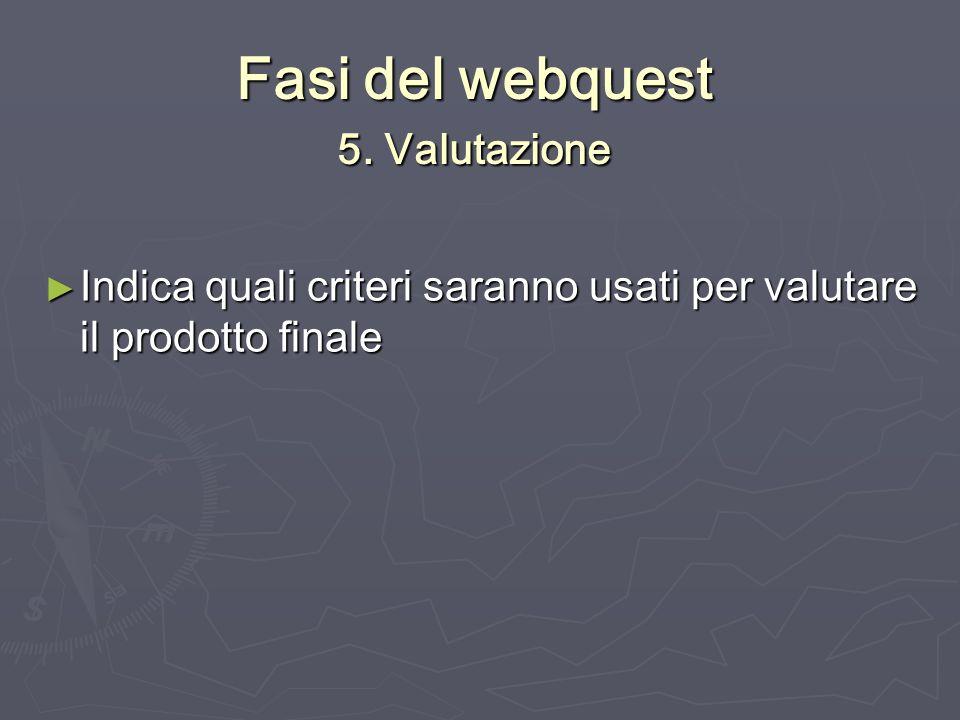 Fasi del webquest 5. Valutazione Indica quali criteri saranno usati per valutare il prodotto finale Indica quali criteri saranno usati per valutare il