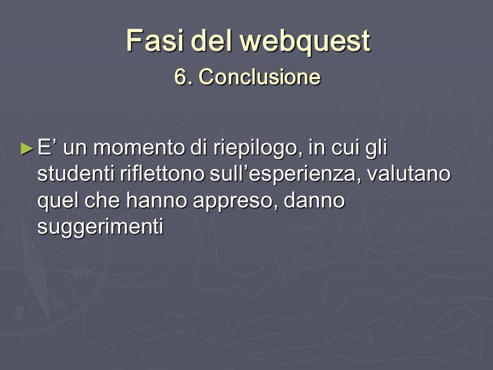 Fasi del webquest 6. Conclusione E un momento di riepilogo, in cui gli studenti riflettono sullesperienza, valutano quel che hanno appreso, danno sugg