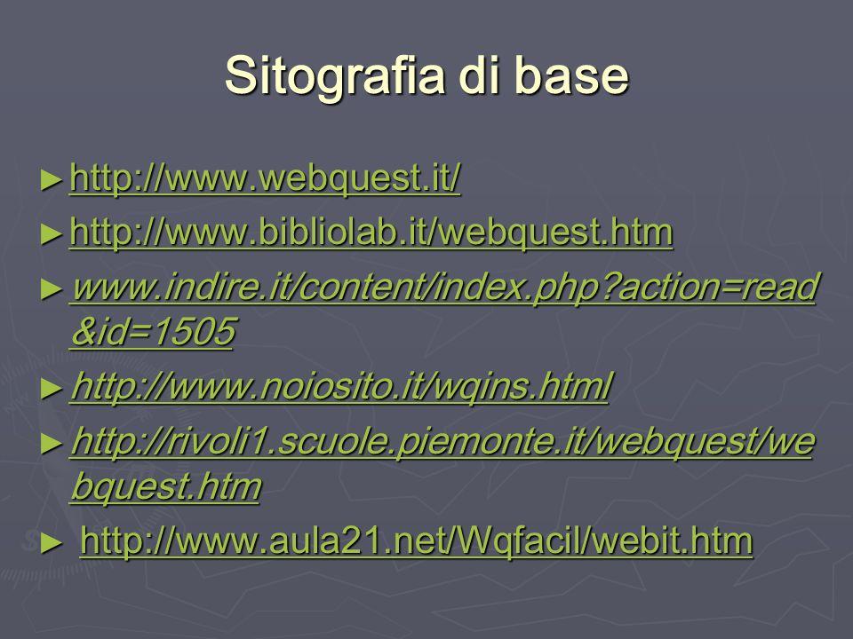 Sitografia di base http://www.webquest.it/ http://www.webquest.it/ http://www.webquest.it/ http://www.bibliolab.it/webquest.htm http://www.bibliolab.i