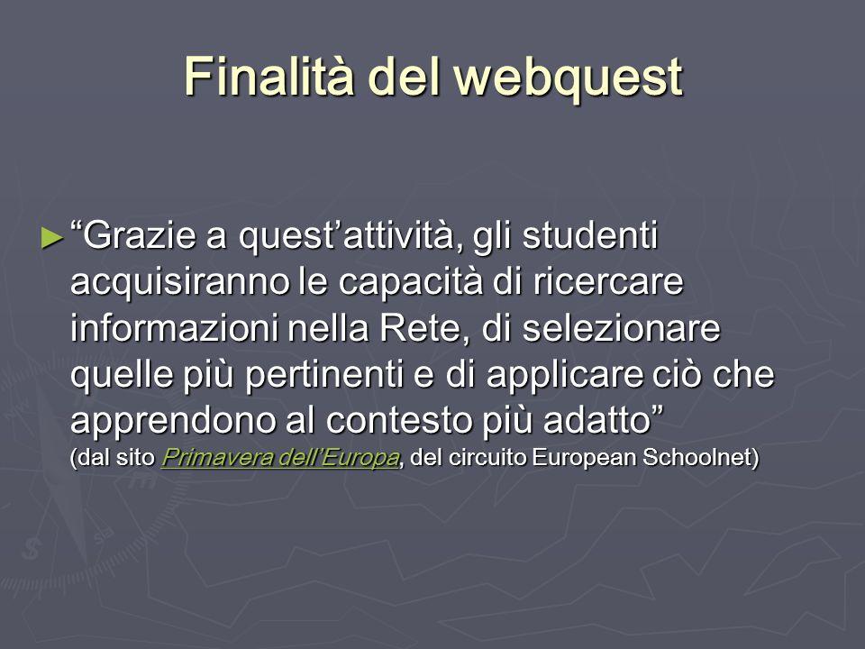 Finalità del webquest Grazie a questattività, gli studenti acquisiranno le capacità di ricercare informazioni nella Rete, di selezionare quelle più pe