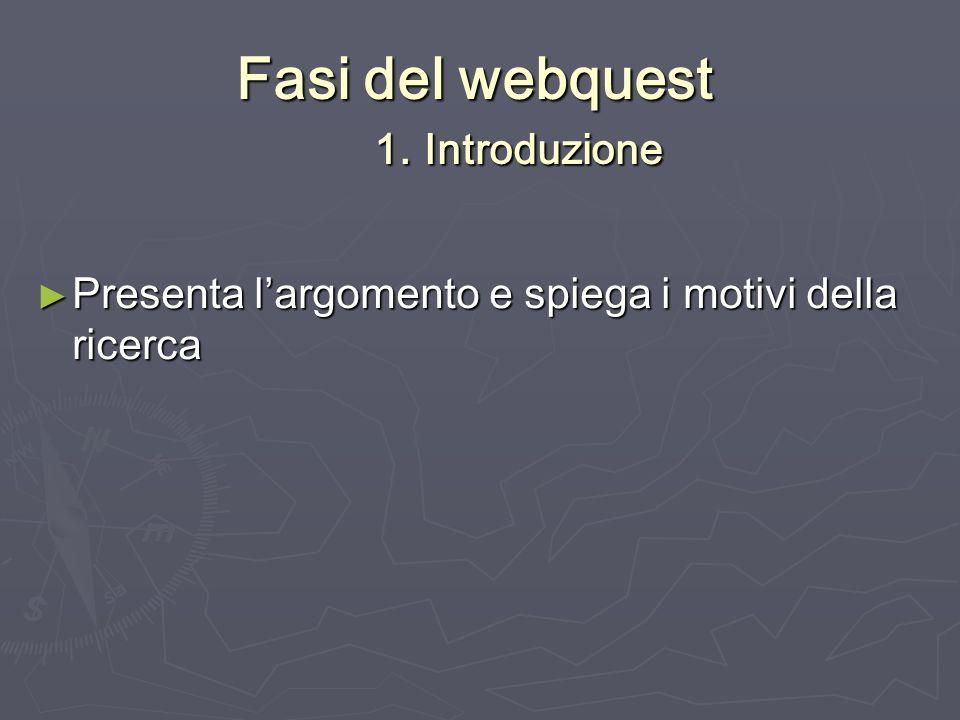 Fasi del webquest 1. Introduzione Presenta largomento e spiega i motivi della ricerca Presenta largomento e spiega i motivi della ricerca