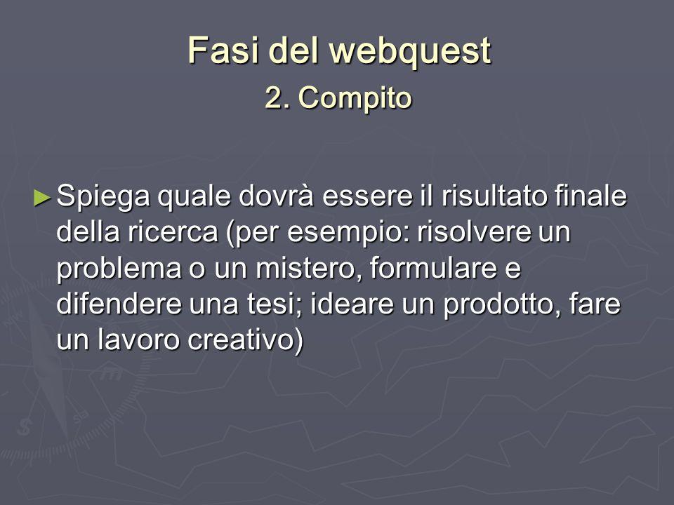 Fasi del webquest 2. Compito Spiega quale dovrà essere il risultato finale della ricerca (per esempio: risolvere un problema o un mistero, formulare e