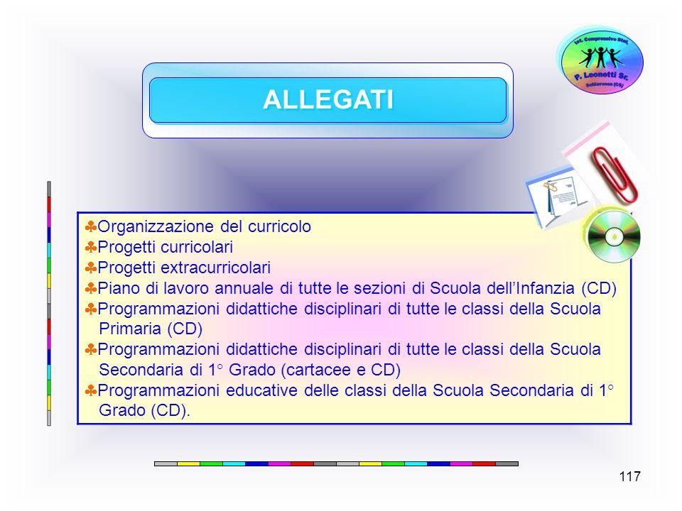 117 ALLEGATI Organizzazione del curricolo Progetti curricolari Progetti extracurricolari Piano di lavoro annuale di tutte le sezioni di Scuola dellInf