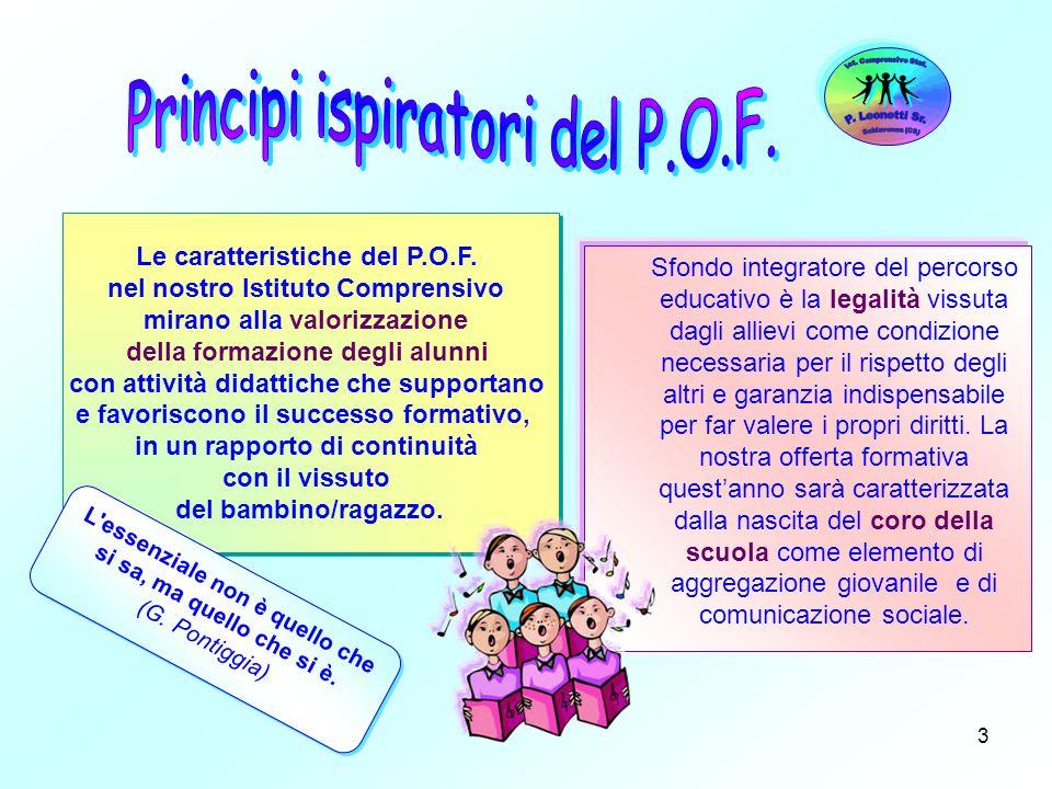 3 Le caratteristiche del P.O.F. nel nostro Istituto Comprensivo mirano alla valorizzazione della formazione degli alunni con attività didattiche che s