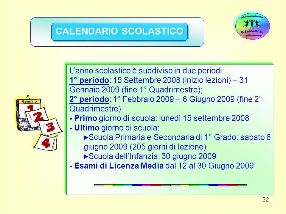 32 CALENDARIO SCOLASTICO Lanno scolastico è suddiviso in due periodi: 1° periodo: 15 Settembre 2008 (inizio lezioni) – 31 Gennaio 2009 (fine 1° Quadri