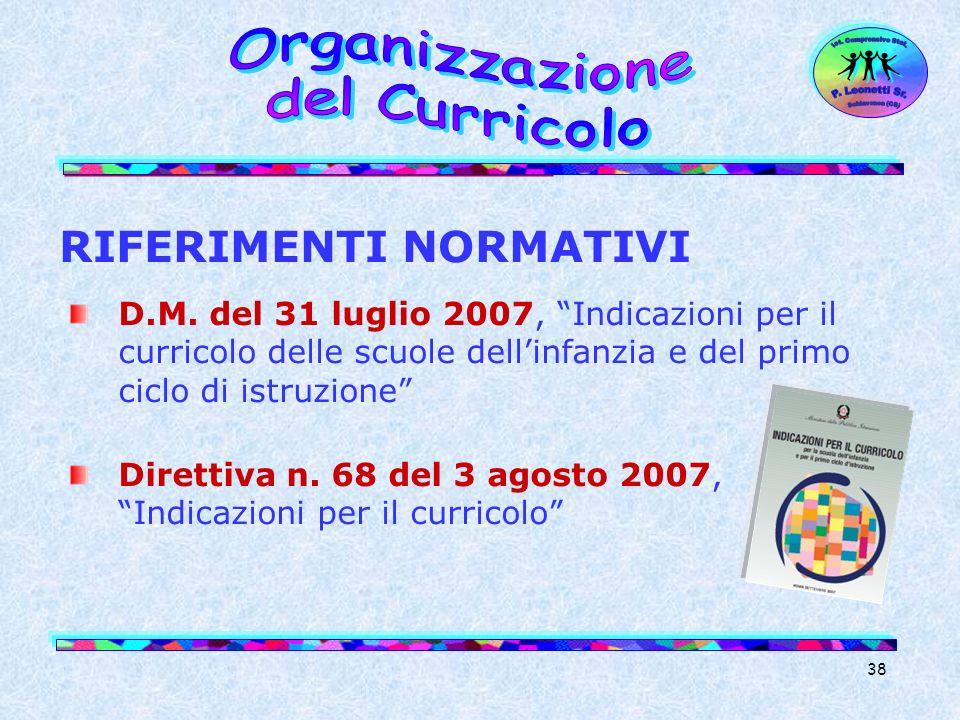 38 RIFERIMENTI NORMATIVI D.M. del 31 luglio 2007, Indicazioni per il curricolo delle scuole dellinfanzia e del primo ciclo di istruzione Direttiva n.