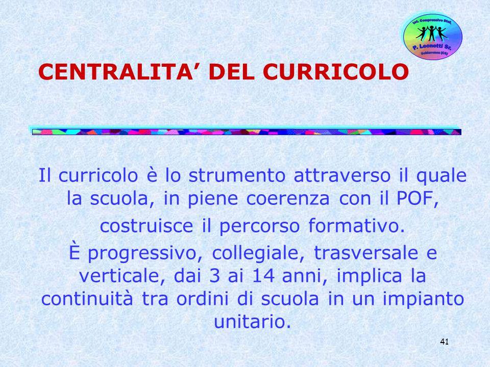 41 CENTRALITA DEL CURRICOLO Il curricolo è lo strumento attraverso il quale la scuola, in piene coerenza con il POF, costruisce il percorso formativo.
