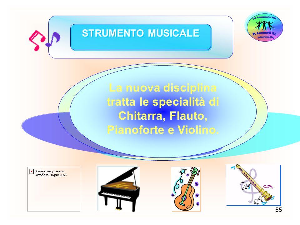 55 STRUMENTO MUSICALE Lesperienza di studio dello Strumento Musicale, avviata per alcuni anni come sperimentazione, ha assunto già da alcuni anni scol