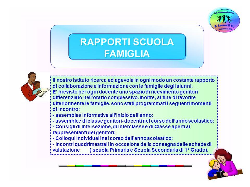 56 RAPPORTI SCUOLA FAMIGLIA Il nostro Istituto ricerca ed agevola in ogni modo un costante rapporto di collaborazione e informazione con le famiglie d